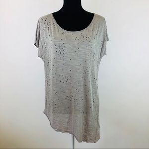 3/$25 Lush Holey Distressed Asymmetrical Top Small